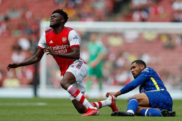 Thomas Partey injured during a friendly against Chelsea on Sunday